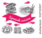 menu of spain monochrome... | Shutterstock .eps vector #510733507