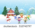 happy kids playing outdoors in... | Shutterstock .eps vector #510743797