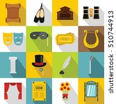theater icons set. flat... | Shutterstock . vector #510744913