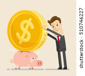 businessman try to put a large... | Shutterstock .eps vector #510746227