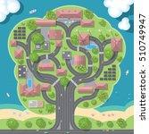 vector illustration. green city ... | Shutterstock .eps vector #510749947
