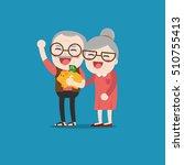 senior people with golden piggy ...   Shutterstock .eps vector #510755413
