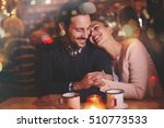 romantic couple dating in pub... | Shutterstock . vector #510773533