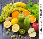 green smoothie in bottle with... | Shutterstock . vector #510781153