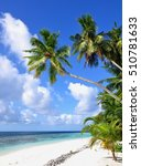 tropical beach with palm trees  ... | Shutterstock . vector #510781633