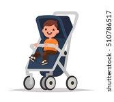 baby boy in stroller on a white ...   Shutterstock .eps vector #510786517