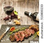 close up of juicy beef steak...   Shutterstock . vector #510800233