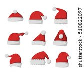 just red christmas santa hat at ... | Shutterstock .eps vector #510822097