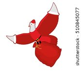 pigeon santa claus carries sack ... | Shutterstock .eps vector #510845077