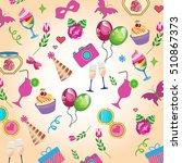 festive pattern  beads  glasses ... | Shutterstock .eps vector #510867373