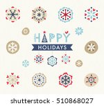 decorative snowflakes set with... | Shutterstock .eps vector #510868027