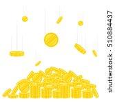 falling coins on pile of golden ...   Shutterstock .eps vector #510884437
