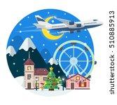 merry christmas round banner in ... | Shutterstock .eps vector #510885913