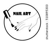 vector black and white nail art ... | Shutterstock .eps vector #510895303