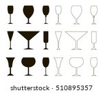 wine glass  silhouette  and... | Shutterstock .eps vector #510895357