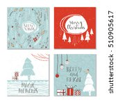set of 4 cute christmas cards... | Shutterstock .eps vector #510905617