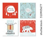 set of 4 cute christmas cards... | Shutterstock .eps vector #510905677