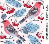 seamless birds and spruce | Shutterstock .eps vector #510941653
