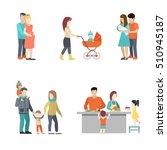 flat family cooking  having fun ... | Shutterstock .eps vector #510945187