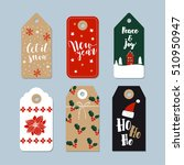 vintage christmas gift tags set.... | Shutterstock .eps vector #510950947