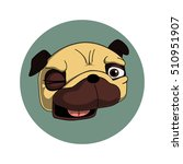 winking pug. cool pug character ...   Shutterstock .eps vector #510951907