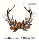 beautiful vector set of horns... | Shutterstock .eps vector #510957103