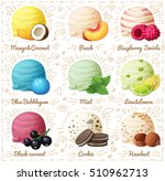 Stock vector set of cartoon vector icons isolated on white background ice cream scoops with different fruit and 510962713