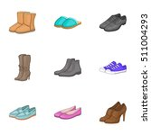 Types Of Shoes Icons Set....
