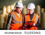 paper mill factory workers | Shutterstock . vector #511032463