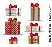 christmas cartoon gift set.... | Shutterstock .eps vector #511037377