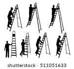 man on ladder silhouettes | Shutterstock .eps vector #511051633