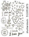 i love you  handwritten sketches | Shutterstock .eps vector #511051873