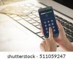 women enter password network to ... | Shutterstock . vector #511059247