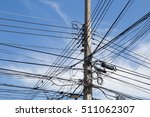 messy cable electricity rural... | Shutterstock . vector #511062307