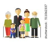 portrait of happy big family... | Shutterstock .eps vector #511062337