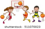 three people playing basketball ... | Shutterstock .eps vector #511070023