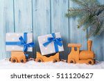 Old Wooden Toy Train With...