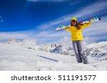 Smiling Girl Standing With Ski...