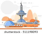 the first colony on mars ... | Shutterstock .eps vector #511198093