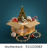 opened gift box full of... | Shutterstock . vector #511223083
