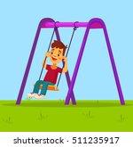 little boy character swinging... | Shutterstock .eps vector #511235917