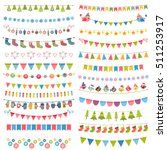 christmas flags  bunting and... | Shutterstock .eps vector #511253917