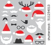 santa claus hats  beard and... | Shutterstock .eps vector #511254013