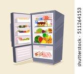 refrigerator full of tasty food.... | Shutterstock .eps vector #511264153