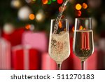 glasses of wine and christmas... | Shutterstock . vector #511270183