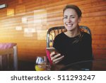 young happy hipster girl with... | Shutterstock . vector #511293247