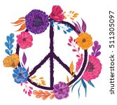 hippie peace symbol with... | Shutterstock .eps vector #511305097