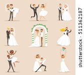 newlyweds posing and dancing on ... | Shutterstock .eps vector #511362187