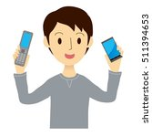 man has two mobile phone | Shutterstock .eps vector #511394653