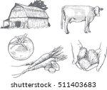 woodcut farm illustrations | Shutterstock .eps vector #511403683